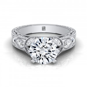 Diamond Engagement Ring With Leaf Accent And Beading Detail In 14k White Gold