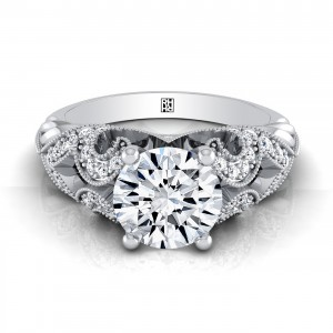 Diamond Engagement Ring With Scroll Work And Beading Detail In 14k White Gold