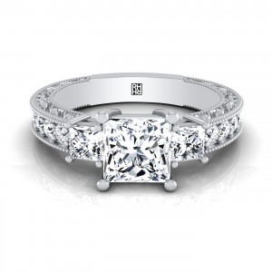 Princess Cut 3-stone Engagement Ring With Scroll Work Gallery And Beaded Edge Pave Shank In 14k White Gold
