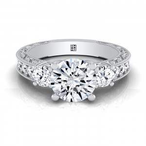 Diamond 3-stone Engagement Ring With Scroll Work Gallery And Beaded Edge Pave Shank In 14k White Gold