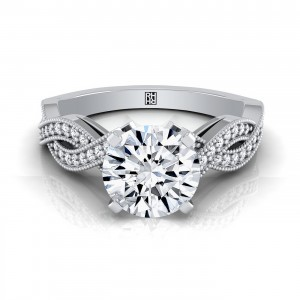 Diamond Engagement Ring With Pave Infinity Millgrained Shank In 14k White Gold
