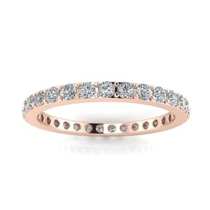 Round Brilliant Cut Diamond Pave Set Eternity Ring In 14k Rose Gold  (0.42ct. Tw.) Ring Size 4