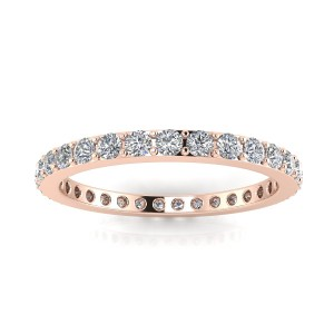 Round Brilliant Cut Diamond Pave Set Eternity Ring In 14k Rose Gold  (0.45ct. Tw.) Ring Size 5.5