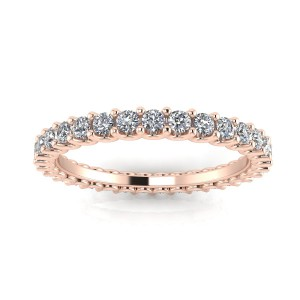 Round Brilliant Cut Diamond Shared Prong Set Eternity Ring In 14k Rose Gold  (0.42ct. Tw.) Ring Size 4