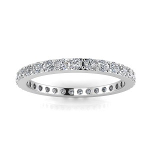 Round Brilliant Cut Diamond Pave Set Eternity Ring In 14k White Gold  (0.66ct. Tw.) Ring Size 5.5