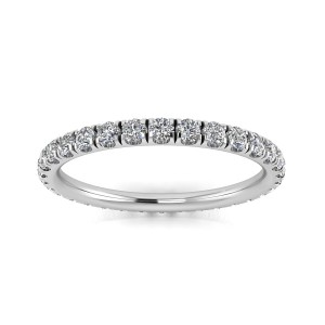 Round Brilliant Cut Diamond Split Prong Set Eternity Ring In 14k White Gold  (0.61ct. Tw.) Ring Size 4