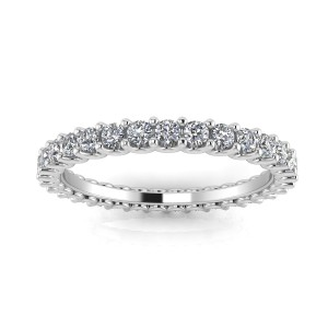 Round Brilliant Cut Diamond Shared Prong Set Eternity Ring In 14k White Gold  (0.63ct. Tw.) Ring Size 4