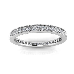 Round Brilliant Cut Diamond Pave & Milgrain Set Eternity Ring In Platinum  (0.43ct. Tw.) Ring Size 4