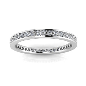 Round Brilliant Cut Diamond Channel Pave Set Eternity Ring In 14k White Gold  (0.83ct. Tw.) Ring Size 4