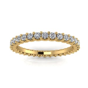 Round Brilliant Cut Diamond Shared Prong Set Eternity Ring In 14k Yellow Gold  (0.63ct. Tw.) Ring Size 4