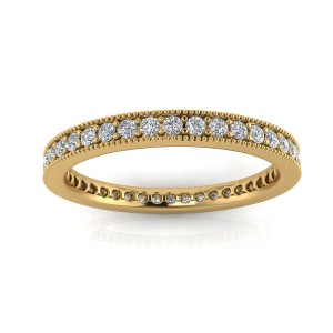 Round Brilliant Cut Diamond Pave & Milgrain Set Eternity Ring In 14k Yellow Gold  (0.63ct. Tw.) Ring Size 4