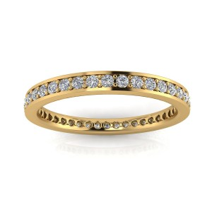 Round Brilliant Cut Diamond Channel Pave Set Eternity Ring In 14k Yellow Gold  (0.63ct. Tw.) Ring Size 4