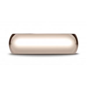 14k Rose Gold 7mm Slightly Domed Standard Comfort-fit Ring