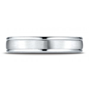 18k White Gold 4mm Comfort-fit Satin-finished High Polished Round Edge Carved Design Band