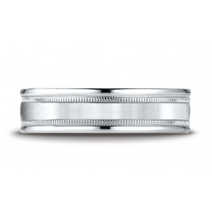 14k White Gold 6mm Comfort-fit Satin Finish Center With Milgrain Round Edge Carved Design Band