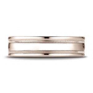 14k Rose Gold 6mm Comfort-fit High Polished With Milgrain Round Edge Carved Design Band