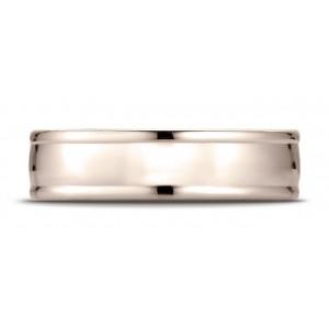 14k Rose Gold 6mm Comfort-fit High Polish Finish Round Edge Design Band