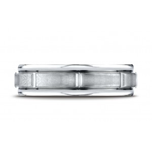 Platinum 6mm Comfort-fit Satin-finished 8 High Polished Center Cuts And Round Edge Carved Design Band