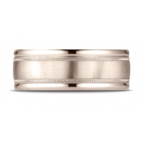 14k Rose Gold 8mm Comfort-fit Satin Finish Center With Milgrain Round Edge Carved Design Band