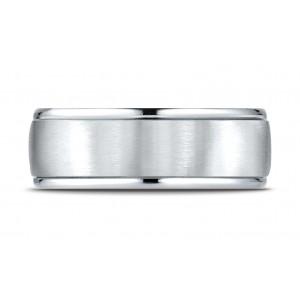Platinum 8mm Comfort-fit Satin Finish High Polished Round Edge Carved Design Band