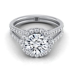 Diamond Halo Engagement Ring With A Split Shank In Platinum (7/8 Ct.tw.)