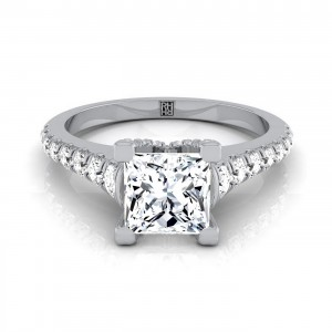 Princess Cut Diamond Engagement Ring With Graduated Diamond Side Stone In 14k White Gold (3/8 Ct.tw)