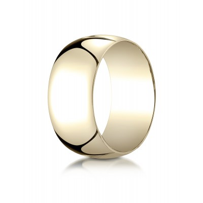14k Yellow Gold 10mm Slightly Domed Traditional Oval Ring