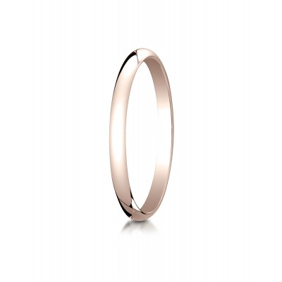 14k Rose Gold 2.0 Mm Slightly Domed Traditional Oval Ring
