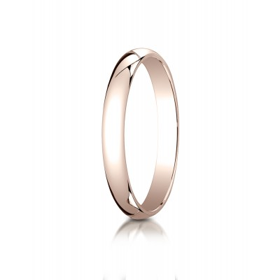 14k Rose Gold 3mm Slightly Domed Traditional Oval Ring