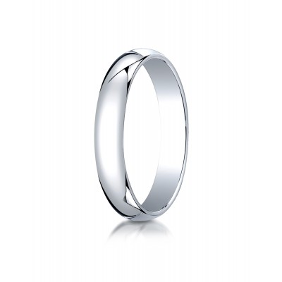 14k White Gold 4mm Slightly Domed Traditional Oval Ring