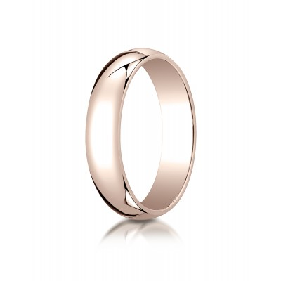 14k Rose Gold 5mm Slightly Domed Traditional Oval Ring