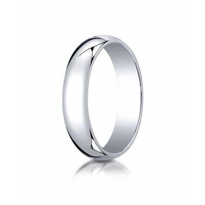14k White Gold 5mm Slightly Domed Traditional Oval Ring