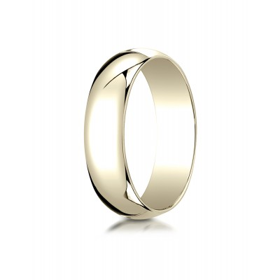 14k Yellow Gold 6mm Slightly Domed Traditional Oval Ring