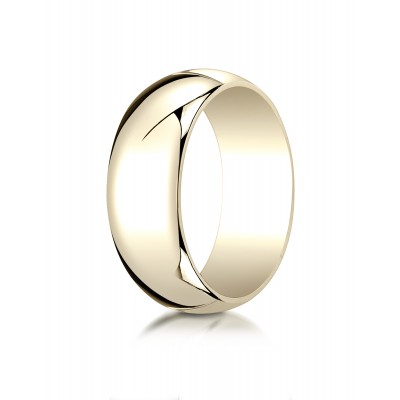 14k Yellow Gold 8mm Slightly Domed Traditional Oval Ring