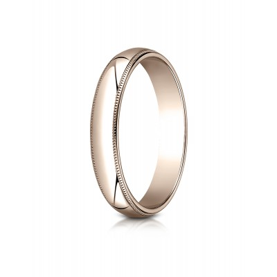 14k Rose Gold 4mm Slightly Domed Traditional Oval Ring With Milgrain