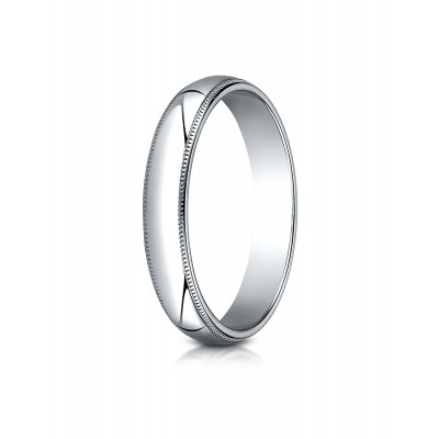 14k White Gold 4mm Slightly Domed Traditional Oval Ring With Milgrain