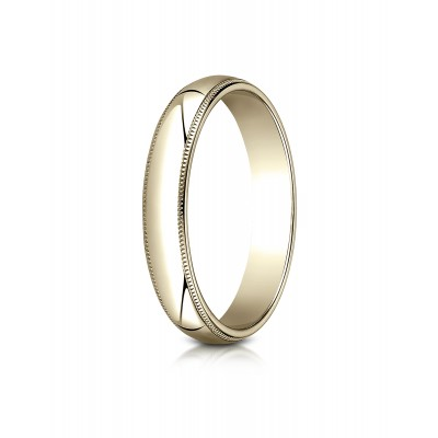 18k Yellow Gold 4mm Slightly Domed Traditional Oval Ring With Milgrain