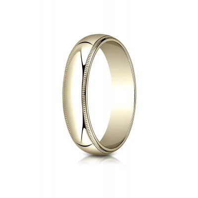 18k Yellow Gold 5mm Slightly Domed Traditional Oval Ring With Milgrain