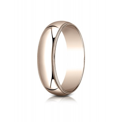 14k Rose Gold 6mm Slightly Domed Traditional Oval Ring With Milgrain