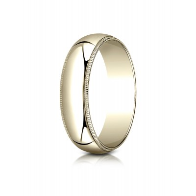 18k Yellow Gold 6mm Slightly Domed Traditional Oval Ring With Milgrain