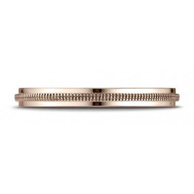 14k Rose Gold 2mm High Polished Milgrain Center Design Band