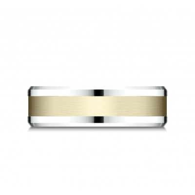 14k Two Tone 6mm Comfort Fit Drop Bevel Satin Finish Design Band