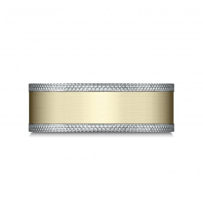 14k Two Tone 8mm Comfort Fit Knurled Edge Satin Finish Design Band