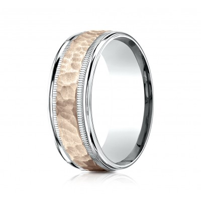 14k Two-toned 8mm Comfort-fit Hammer Finish Design Band