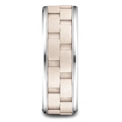 14k Two-toned 8mm Comfort-fit Drop Bevel Sandblasted Satin Finish Chain Link Design Band