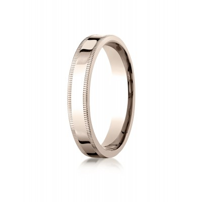 14k Rose Gold 4mm Flat Comfort-fit Ring With Milgrain