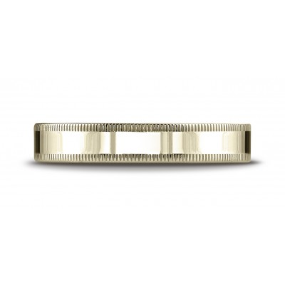 18k Yellow Gold 4mm Flat Comfort-fit Ring With Milgrain