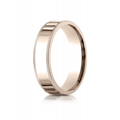 14k Rose Gold 6mm Flat Comfort-fit Ring With Milgrain