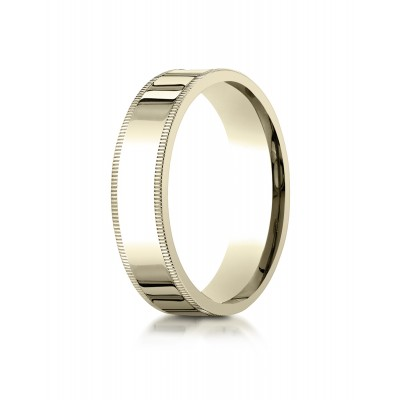 18k Yellow Gold 6mm Flat Comfort-fit Ring With Milgrain