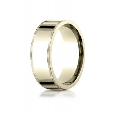 14k Yellow Gold 8mm Flat Comfort-fit Ring With Milgrain